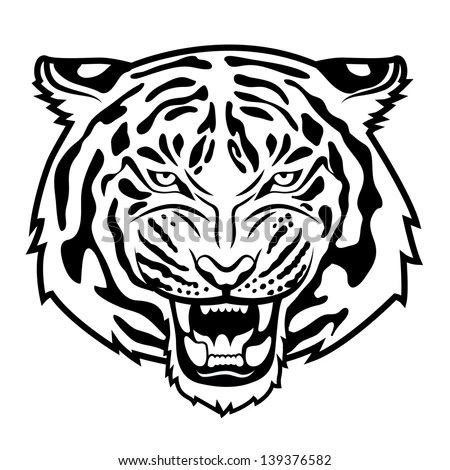 Roaring Tiger'S Head Isolated On White. Black And White