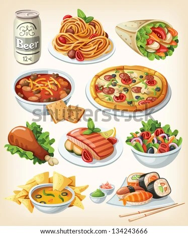 Set of traditional food icons. - stock vector