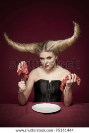 female with wicked demon hairstyle