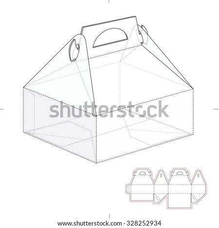 Cake Carrier Box With Die Line Template Stock Vector