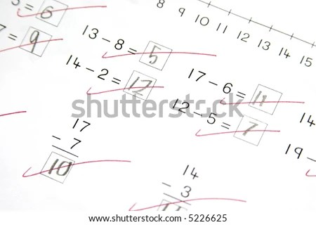 Math Test Subtraction Stock Photo 5226625 : Shutterstock