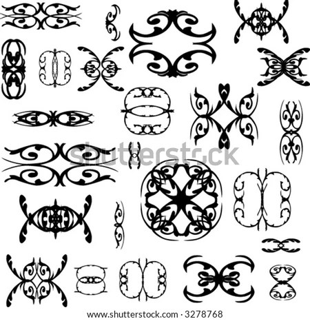 stock vector : lot of tattoo, and vintage logos - vector