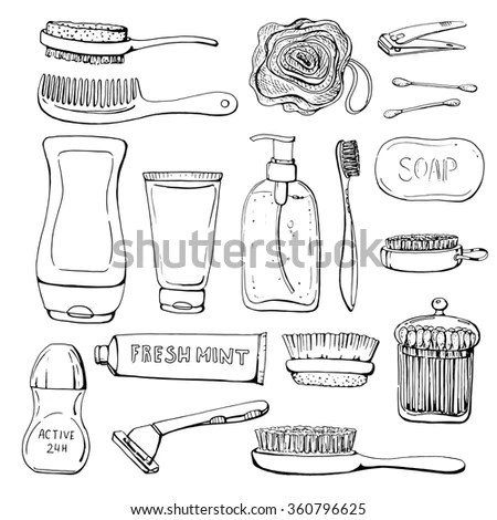 Set Of Linear Hand Drawn Cosmetics And Shower Accessories