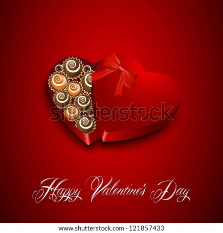 Valentine's day candy in hearth shaped box on a red background. - stock vector