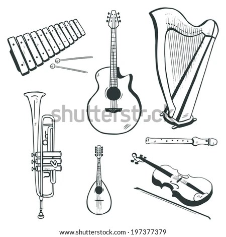 Set Of Vector Musical Instruments: Acoustic Guitar, Harp