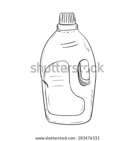 Vector Sketch Of Bottle. Hand Draw Illustration