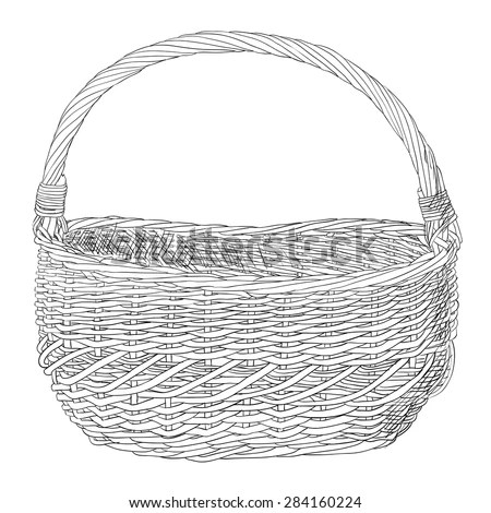 Vector Sketch Of Wicker Basket. Hand Draw Illustration