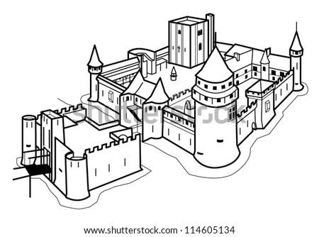 Medieval Castle Stock Vector Illustration 114605134