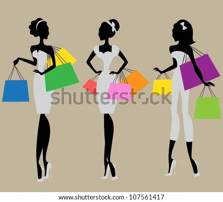 Silhouettes Of 3 Women With Colorful Shopping Bags