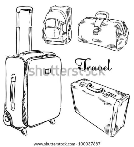 Sketch Set Of Suitcases Stock Vector Illustration