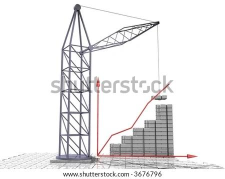 Tower Crane Build Graph. 3d Cg. Stock Photo 3676796