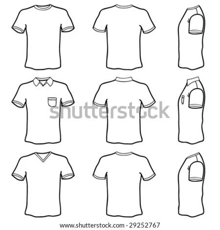 All six views men's white short sleeve… Stock Photo