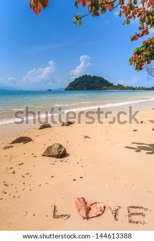 Isolated beach on tropical island, Koh Payam, Ranong, Thailand - stock photo