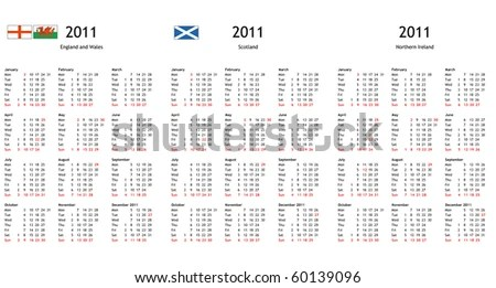 Uk 2011 Calendar With Local National Bank Holidays For