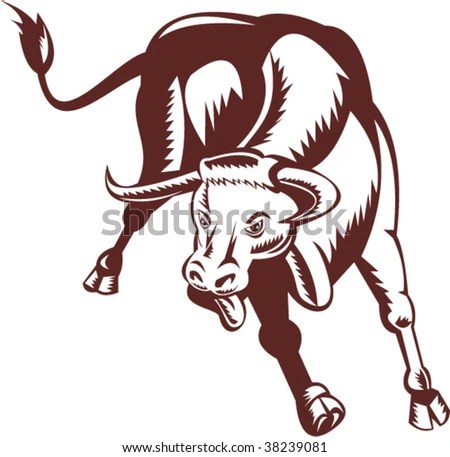 stock vector : Charging texas longhorn bull