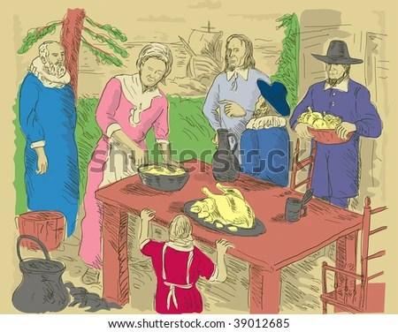 hand drawn illustration of Pilgrims celebrating first thanksgiving dinner - stock photo