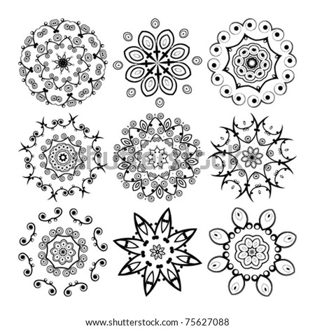Vector Beautiful Ornamental Rosettes Set. For Ethnic Or
