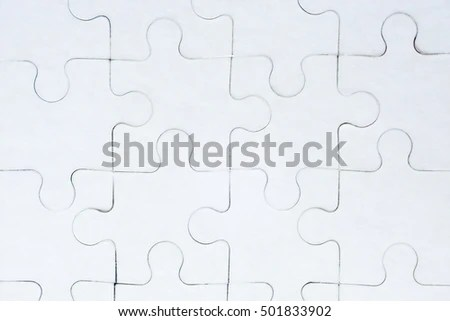 Royalty-free Jigsaw puzzle in white with a missing