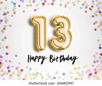 https www shutterstock com image illustration 13th birthday celebration gold balloons colorful 656402947
