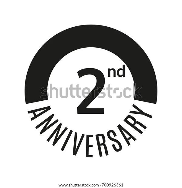 2 Year Anniversary Icon 2nd Celebration Stock Illustration