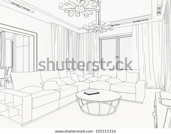 3d Graphical Sketch Interior Stock Illustration 105511316