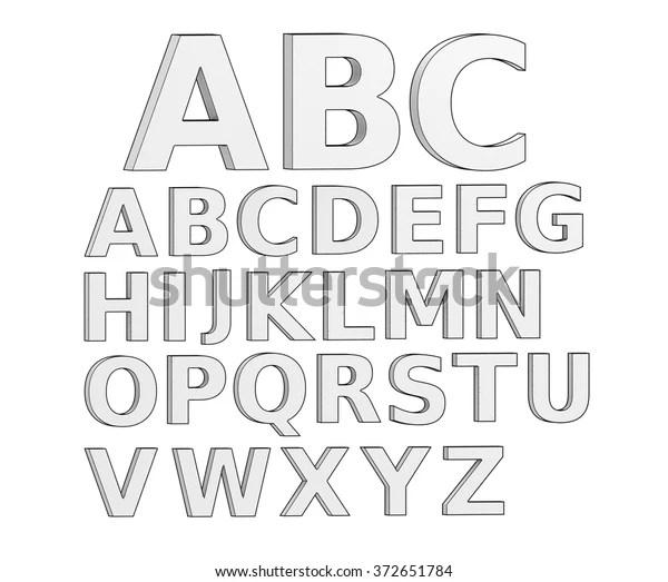 3d letter alphabet line