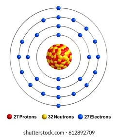 medium resolution of 3d render of atom structure of cobalt isolated over white background protons are represented as red