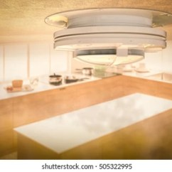 Kitchen Smoke Detector How To Make Cabinets 3 D Rendering On Ceiling Stock Illustration Royalty 3d With In