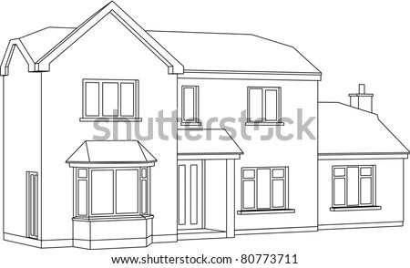 3 D Two Point Perspective Line Drawing Stock Illustration