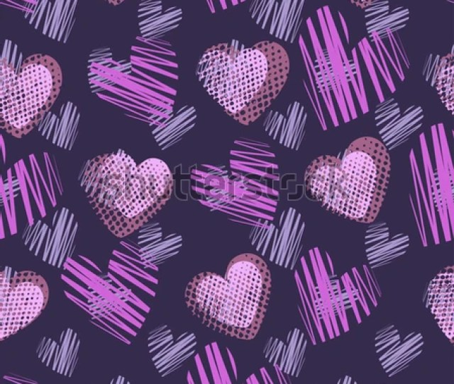 Abstract Seamless Pattern For Girlsboys Creative Background With Hearts Dots Lines