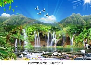 3d nature tree waterfall