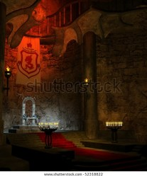 Ancient Fantasy Throne Room Candles Stock Illustration 52318822