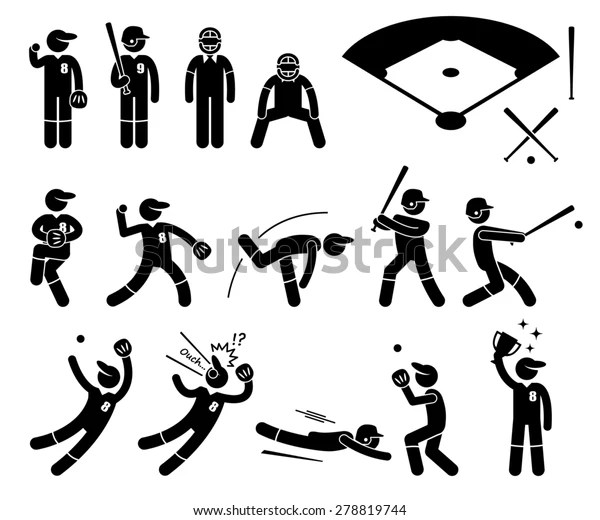 Baseball Player Actions Poses Stick Figure Stock