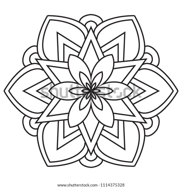 Basic Easy Simple Mandalas Coloring Pages Stock