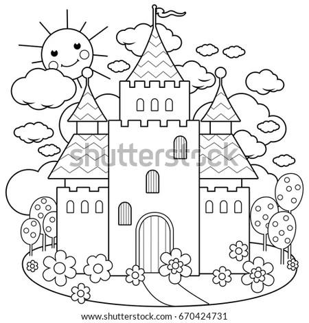 Beautiful Fairy Tale Castle Black White Stock Illustration