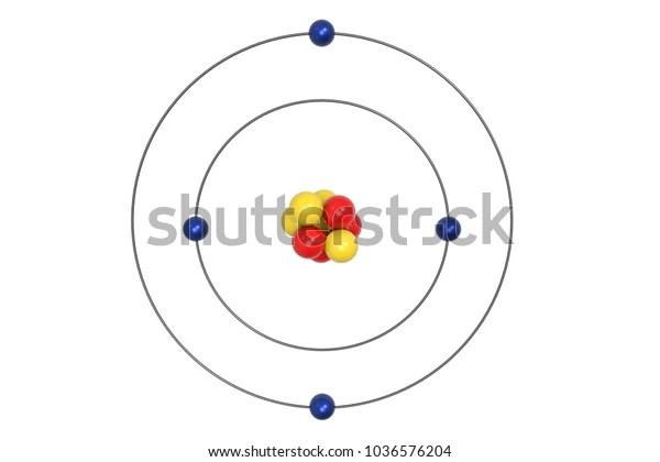 Beryllium Atom Bohr Model Proton Neutron Stock