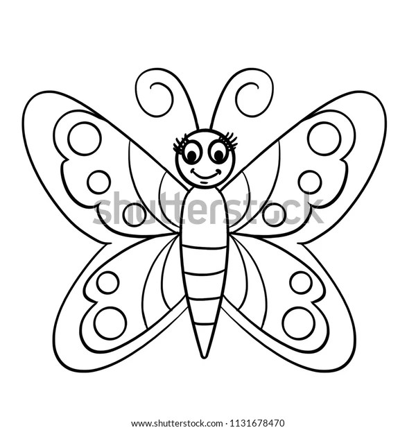 Black Outline Butterfly Coloring Cartoon Butterfly Stock