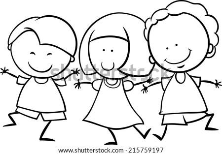 Black White Cartoon Illustration Cute Happy Stock