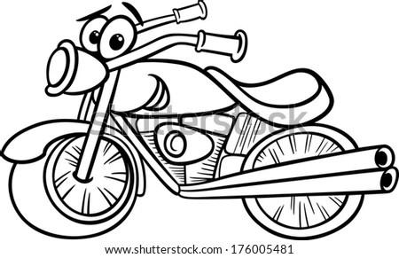 Black White Cartoon Illustration Funny Motor Stock