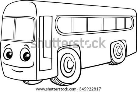 Black White Cartoon Illustration School Bus Stock