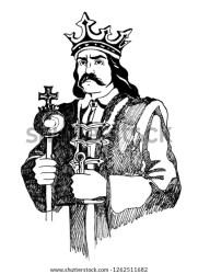 Black White Graphic Drawing King Crown Stock Illustration 1262511682