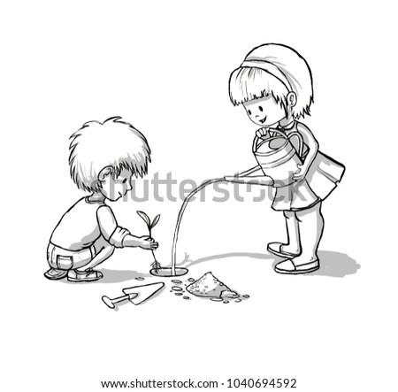 Boy Girl Planting Tree On Garden Stock Illustration