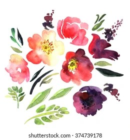 abstract watercolour flowers images