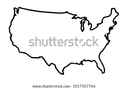 Broader Outline Map United States America Stock