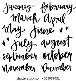 Calendar Months Calligraphy Images, Stock Photos & Vectors