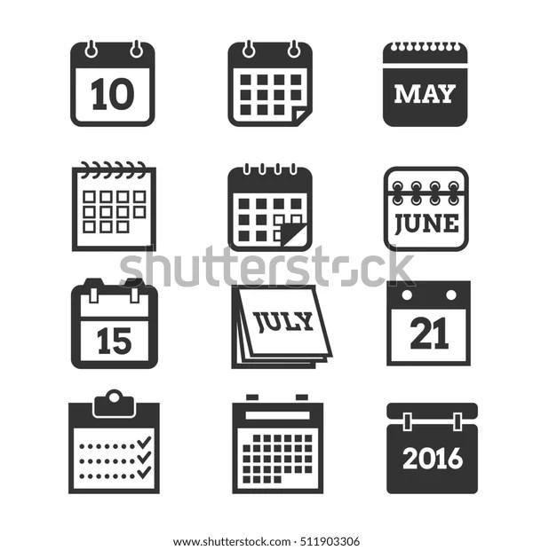 Calendar Icons Set Calendar Page Symbol Stock Illustration
