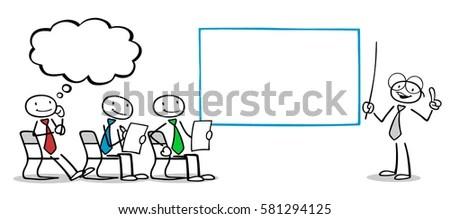 Cartoon Business People Training Seminar Management Stock