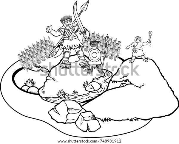 Cartoon Coloring Page David Goliath Battle Stock Illustration 748981912