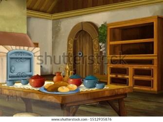 Cartoon Scene Medieval Kitchen Room Interior Stock Illustration 1512935876