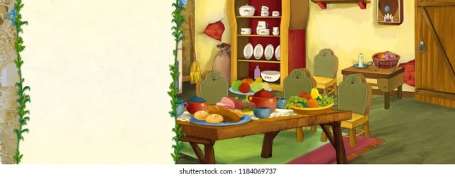 cartoon fairy tale border scene kitchen traditional shutterstock text